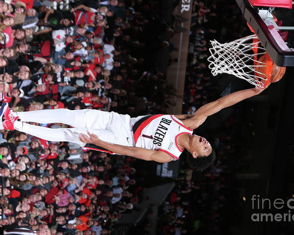 Nba Pro Basketball Poster featuring the photograph Denver Nuggets V Portland Trail Blazers by Sam Forencich
