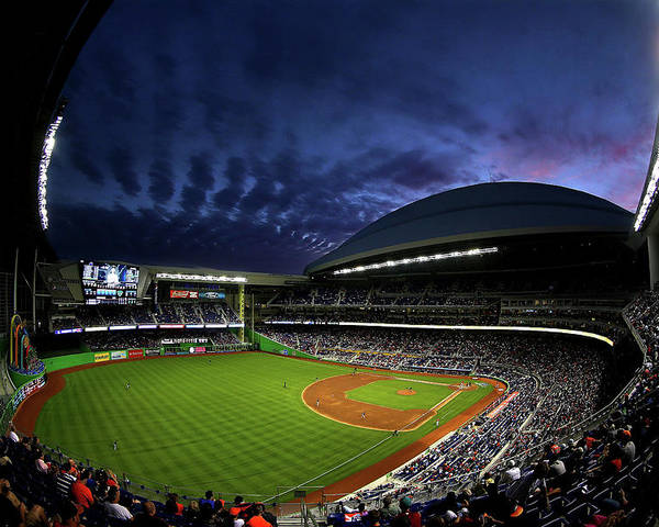 American League Baseball Poster featuring the photograph Colorado Rockies V Miami Marlins by Mike Ehrmann