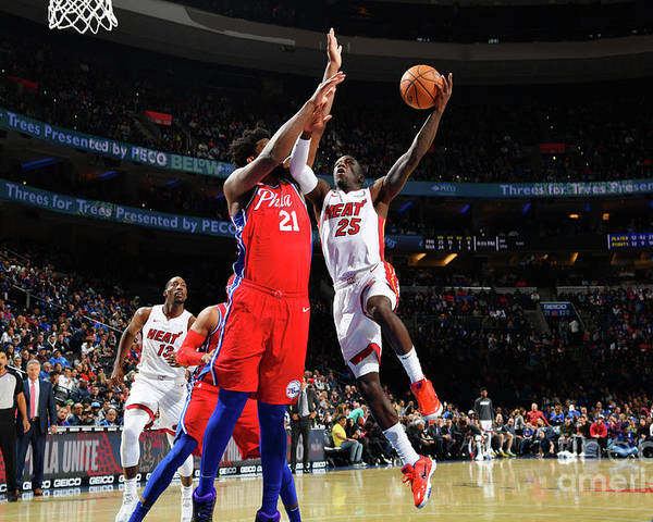 Nba Pro Basketball Poster featuring the photograph Miami Heat V Philadelphia 76ers by Jesse D. Garrabrant