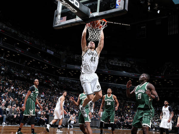 Nba Pro Basketball Poster featuring the photograph Milwaukee Bucks V Brooklyn Nets by Nathaniel S. Butler