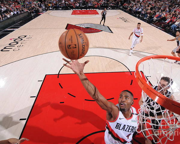 Moe Harkless Poster featuring the photograph San Antonio Spurs V Portland Trail by Sam Forencich