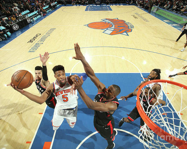 Nba Pro Basketball Poster featuring the photograph Toronto Raptors V New York Knicks by Nathaniel S. Butler
