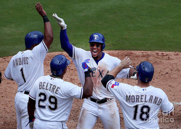 Adrian Beltre Poster featuring the photograph Seattle Mariners V Texas Rangers by Tom Pennington