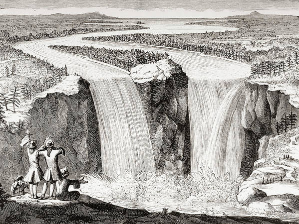 19th Poster featuring the drawing Copy Of Father Hennepin's 1677 Sketch Of Niagara Falls Redrawn In 1870s by Ken Welsh
