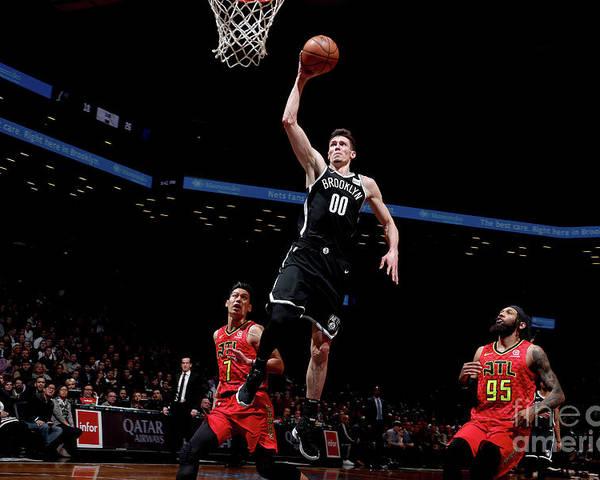 Nba Pro Basketball Poster featuring the photograph Atlanta Hawks V Brooklyn Nets by Nathaniel S. Butler