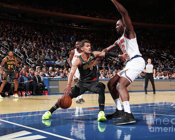 Nba Pro Basketball Poster featuring the photograph Atlanta Hawks V New York Knicks by Nathaniel S. Butler