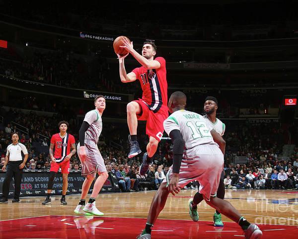 Nba Pro Basketball Poster featuring the photograph Boston Celtics V Washington Wizards by Ned Dishman