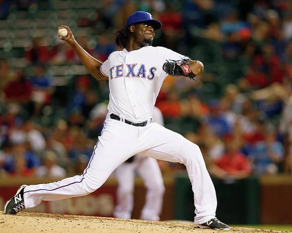 American League Baseball Poster featuring the photograph Houston Astros V Texas Rangers by Tom Pennington