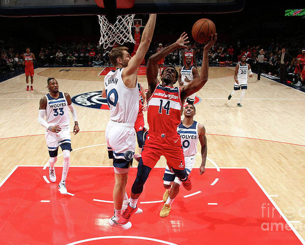 Nba Pro Basketball Poster featuring the photograph Minnesota Timberwolves V Washington by Ned Dishman