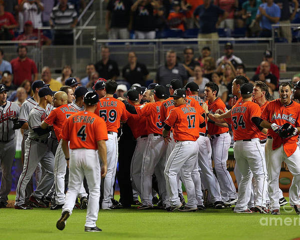 American League Baseball Poster featuring the photograph Atlanta Braves V Miami Marlins by Mike Ehrmann