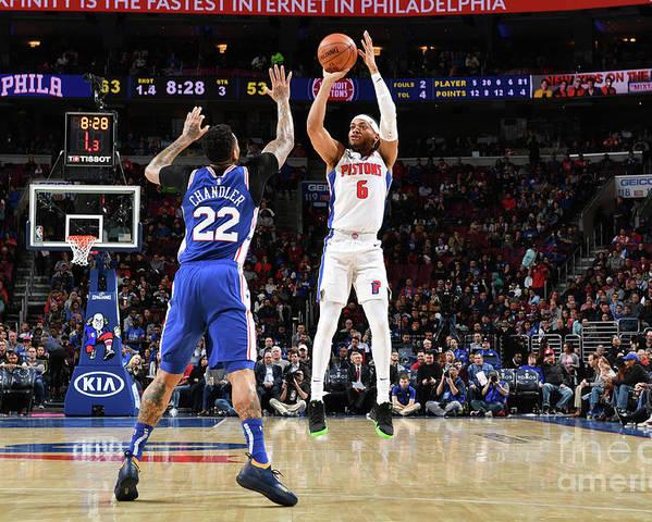 Nba Pro Basketball Poster featuring the photograph Detroit Pistons V Philadelphia 76ers by Jesse D. Garrabrant