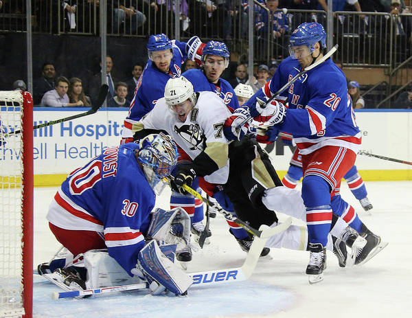 Playoffs Poster featuring the photograph Pittsburgh Penguins V New York Rangers by Bruce Bennett