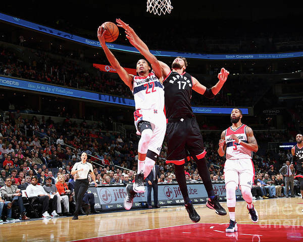 Nba Pro Basketball Poster featuring the photograph Toronto Raptors V Washington Wizards by Ned Dishman