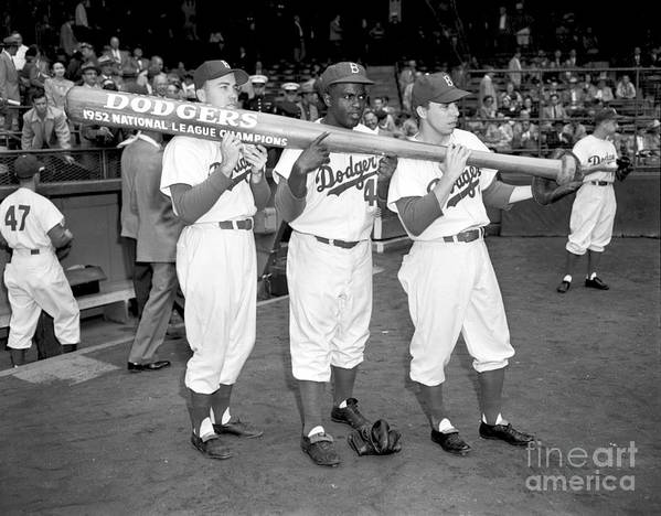 1950-1959 Poster featuring the photograph 1952 World Series - New York Yankees V 1952 by Olen Collection