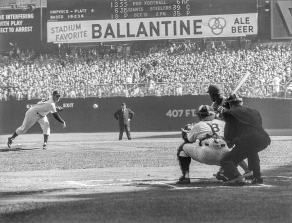 Baseball Catcher Poster featuring the photograph 1956 World Series - Game 5 Brooklyn by The Stanley Weston Archive