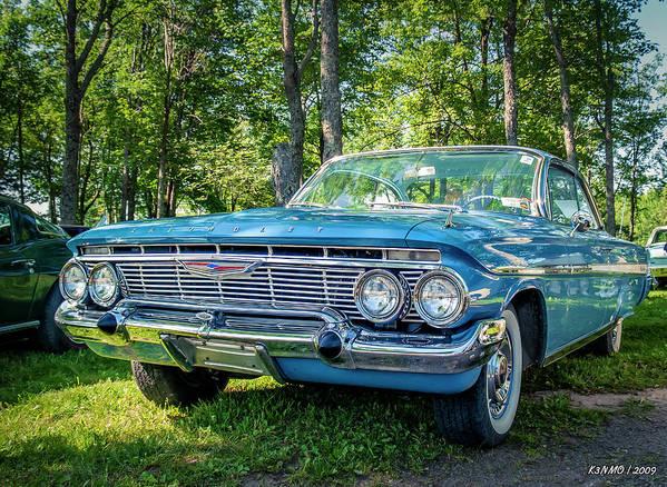 1961 Poster featuring the digital art 1961 Chevrolet Impala 2 Door Hard Top by Ken Morris