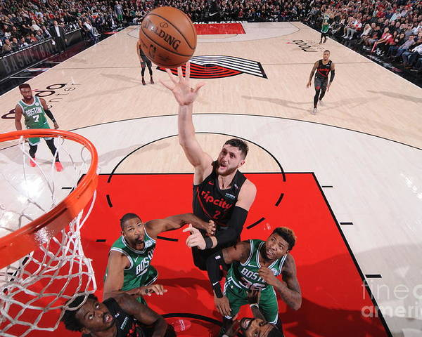 Jusuf Nurkić Poster featuring the photograph Boston Celtics V Portland Trail Blazers by Sam Forencich