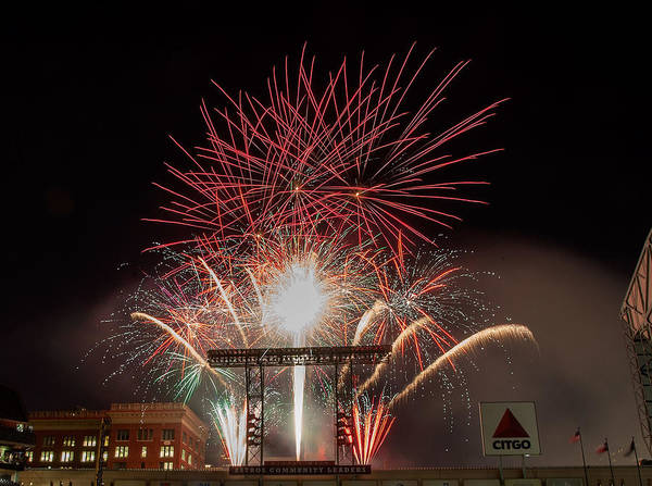Firework Display Poster featuring the photograph Chicago White Sox V Houston Astros by Bob Levey