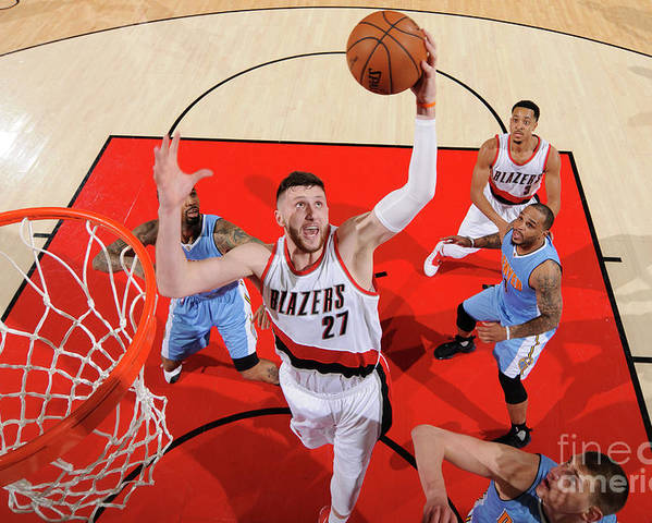 Jusuf Nurkić Poster featuring the photograph Denver Nuggets V Portland Trail Blazers by Cameron Browne