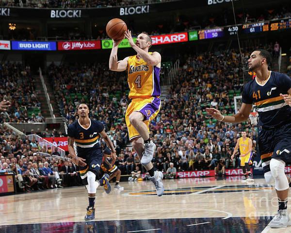 Nba Pro Basketball Poster featuring the photograph Los Angeles Lakers V Utah Jazz by Melissa Majchrzak