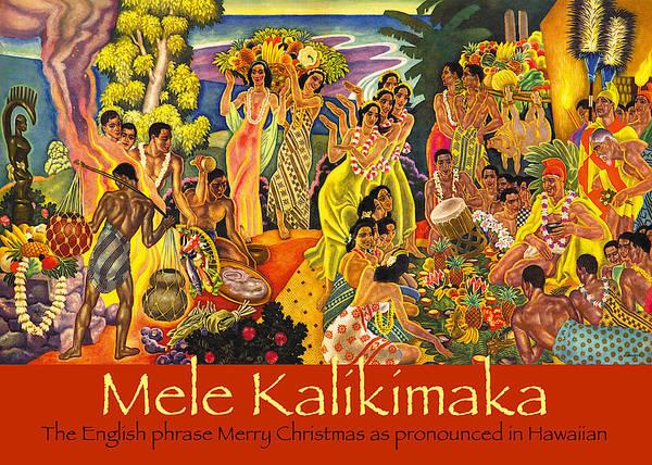 Mele Kalikimaka Poster featuring the painting Mele Kalikimaka by James Temple