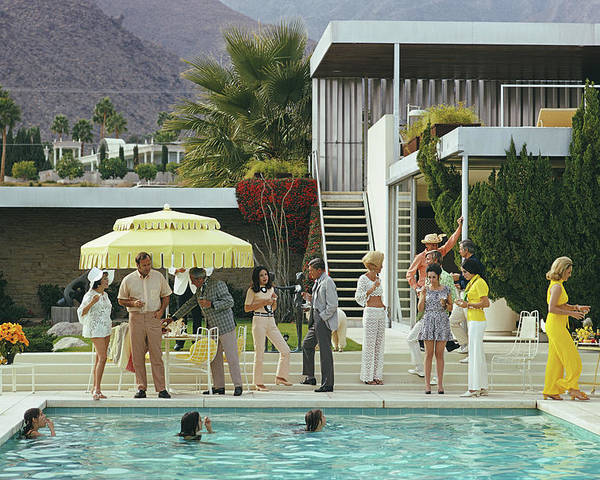 People Poster featuring the photograph Poolside Party by Slim Aarons