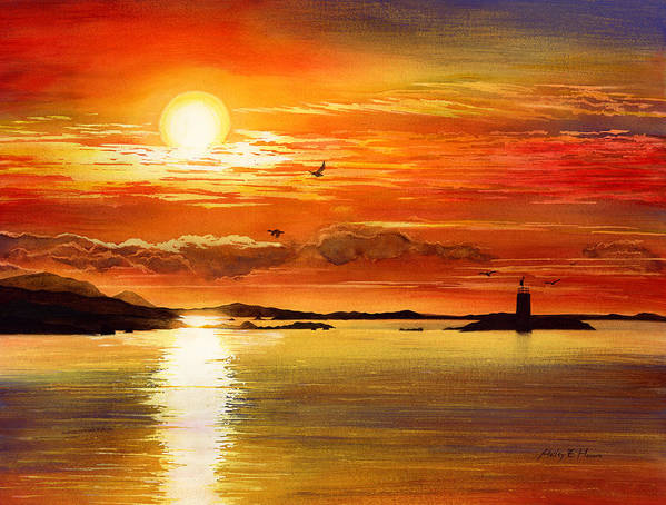Sunset Poster featuring the painting Sunset Lake by Hailey E Herrera
