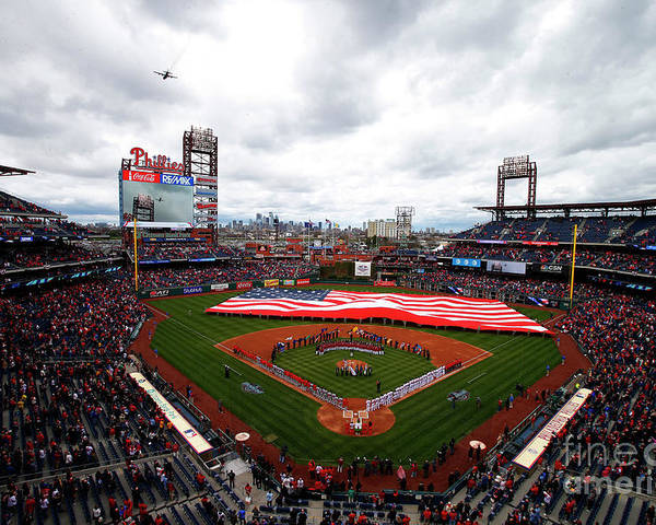 American League Baseball Poster featuring the photograph Washington Nationals V Philadelphia by Rich Schultz