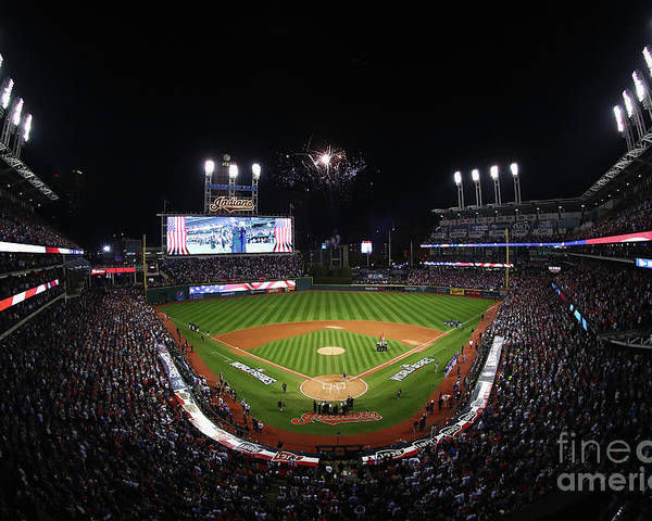 American League Baseball Poster featuring the photograph World Series - Chicago Cubs V Cleveland by Tim Bradbury