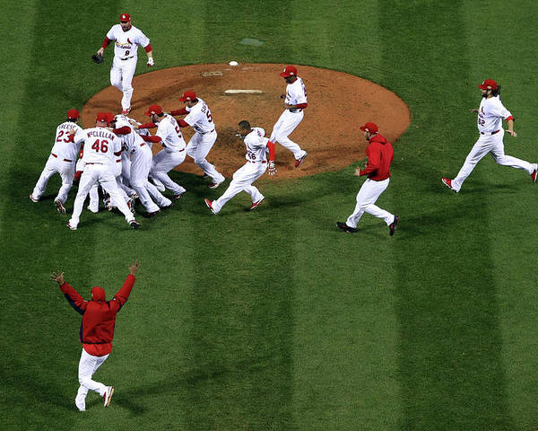St. Louis Cardinals Poster featuring the photograph 2011 World Series Game 7 - Texas by Doug Pensinger