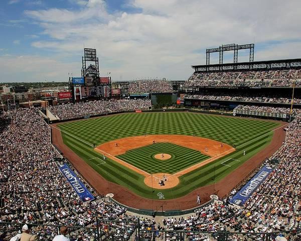 National League Baseball Poster featuring the photograph San Francisco Giants V Colorado Rockies by Doug Pensinger
