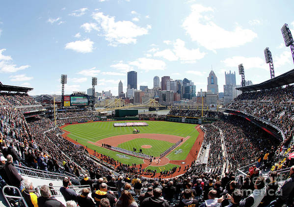 American League Baseball Poster featuring the photograph St Louis Cardinals V Pittsburgh Pirates by Justin K. Aller