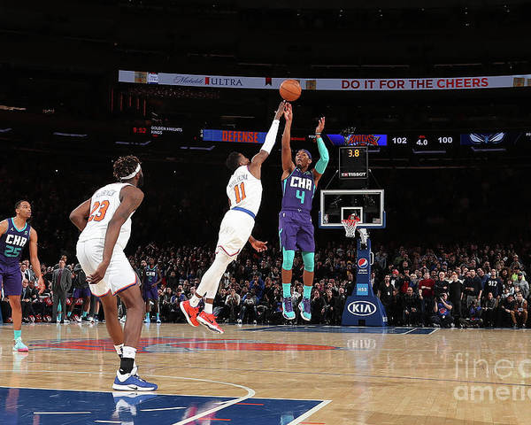 Nba Pro Basketball Poster featuring the photograph Charlotte Hornets V New York Knicks by Nathaniel S. Butler