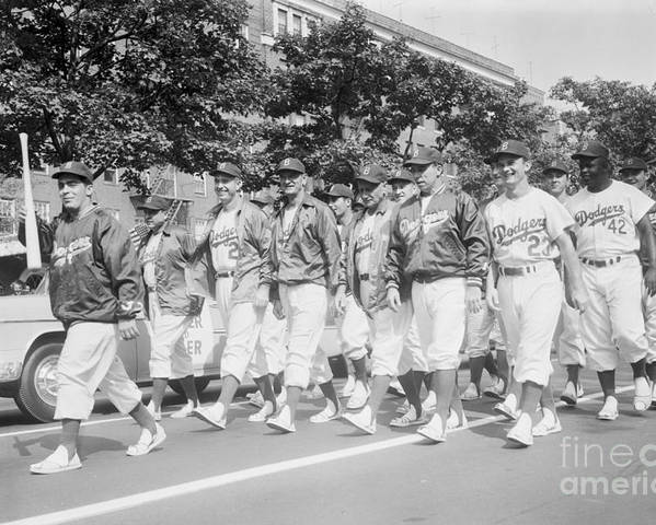 1950-1959 Poster featuring the photograph Brooklyn Dodgers by Kidwiler Collection