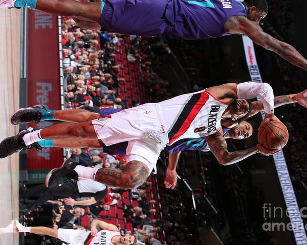Nba Pro Basketball Poster featuring the photograph Charlotte Hornets V Portland Trail by Sam Forencich