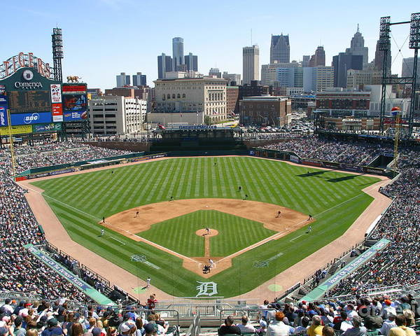 American League Baseball Poster featuring the photograph Cleveland Indians V Detroit Tigers by John Grieshop