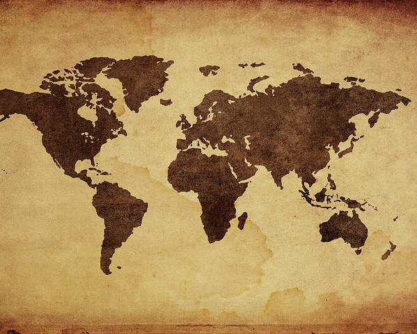 Close Up Of Antique World Map Poster