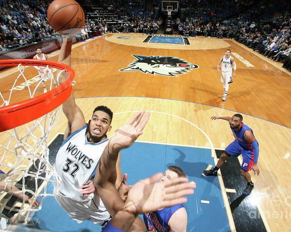 Nba Pro Basketball Poster featuring the photograph Detroit Pistons V Minnesota Timberwolves by David Sherman