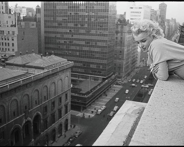 People Poster featuring the photograph Marilyn On The Roof by Michael Ochs Archives
