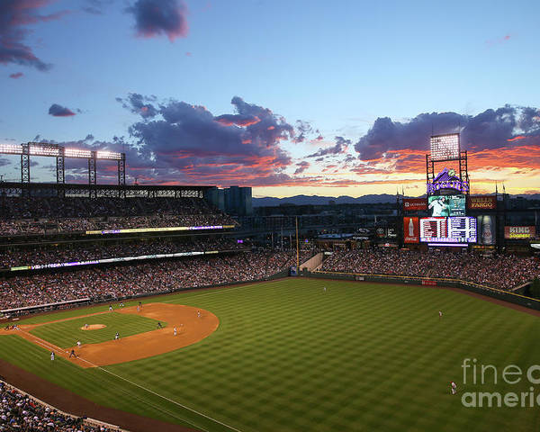 American League Baseball Poster featuring the photograph Philadelphia Phillies V Colorado Rockies by Justin Edmonds