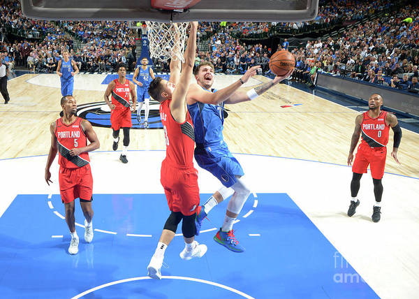 Nba Pro Basketball Poster featuring the photograph Portland Trail Blazers V Dallas by Glenn James