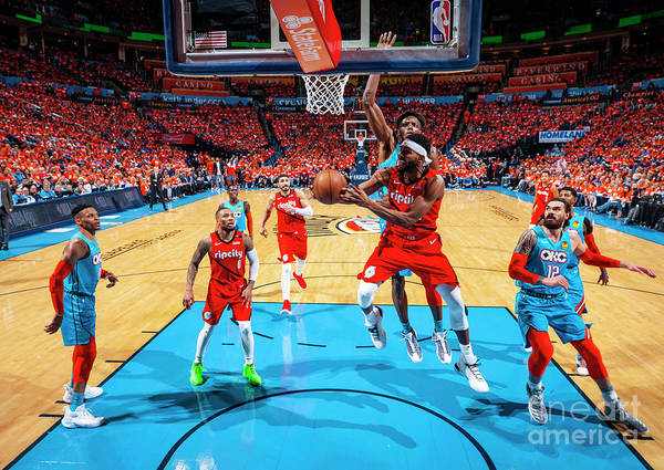 Moe Harkless Poster featuring the photograph Portland Trail Blazers V Oklahoma City by Zach Beeker