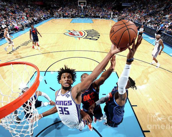 Nba Pro Basketball Poster featuring the photograph Sacramento Kings V Oklahoma City Thunder by Joe Murphy