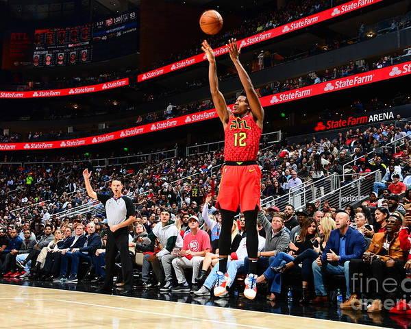 Atlanta Poster featuring the photograph San Antonio Spurs V Atlanta Hawks by Scott Cunningham