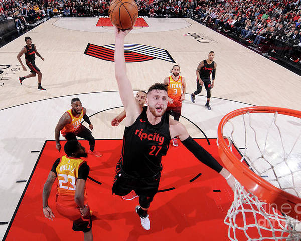 Jusuf Nurkić Poster featuring the photograph Utah Jazz V Portland Trail Blazers by Sam Forencich