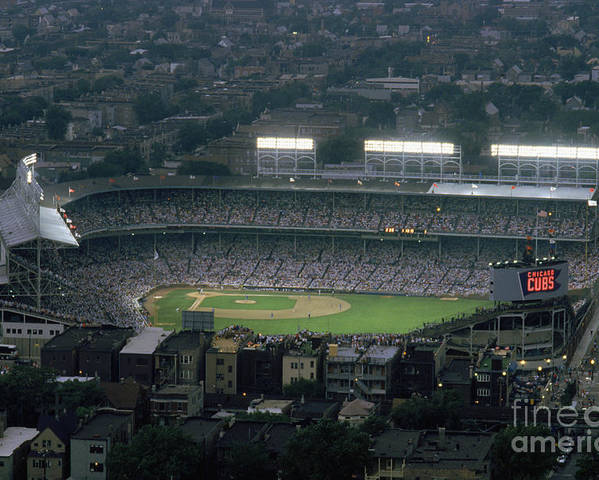 1980-1989 Poster featuring the photograph Wrigley Field by Jonathan Daniel