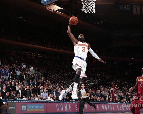 Tim Hardaway Jr. Poster featuring the photograph Cleveland Cavaliers V New York Knicks by Nathaniel S. Butler