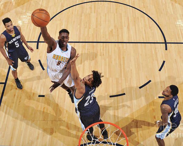 Nba Pro Basketball Poster featuring the photograph Memphis Grizzlies V Denver Nuggets by Garrett Ellwood