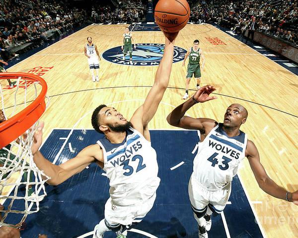 Nba Pro Basketball Poster featuring the photograph Milwaukee Bucks V Minnesota Timberwolves by David Sherman