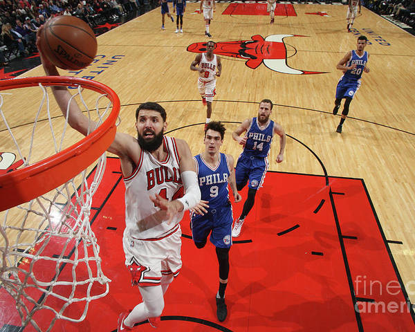 Nba Pro Basketball Poster featuring the photograph Philadelphia 76ers V Chicago Bulls by Gary Dineen